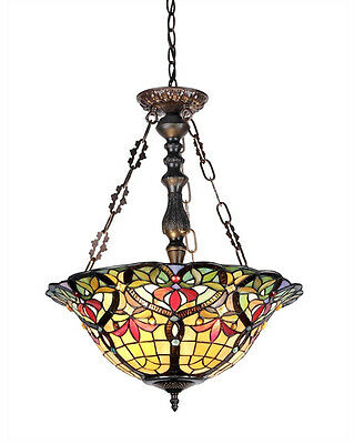 Tiffany Style Victorian Stained Cut Glass Reverse Pendant Hanging Ceiling Lamp (Reverse Hanging Lamp)