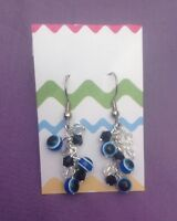 Royal acrylic blue earrings with black jet stones