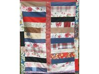 HOMEMADE PATCHWORK THROW - HIGHLAND SUMMER £20 Red, Blue, Tartan - Ideal for Bed Sofa or Picnic Rug
