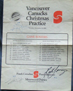 Brodeur, Snepsts, Lanz (NHL Canucks) autographed lineup sheet
