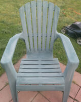 Two comfortable green hard plastic Garden chairs