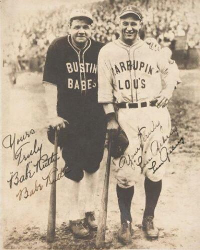REPRINT - BABE RUTH - LOU GEHRIG Signed Autographed 8 x 10 Photo RP Man Cave