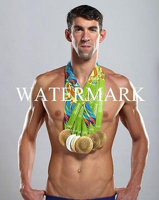 MICHAEL PHELPS Swimmer Rio USA Olympic Glossy 8 x 10 Photo Gold Medals - Michael Phelps Olympic Medals