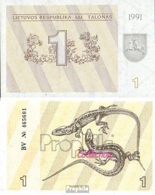 Litauen Pick-Nr: 32a bankfrisch 1991 1 Talonas