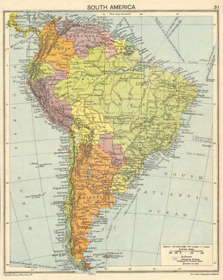 South America. Second World War 1942 old vintage map plan chart