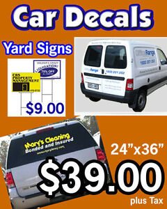 Custom Car window decals and storefront windows
