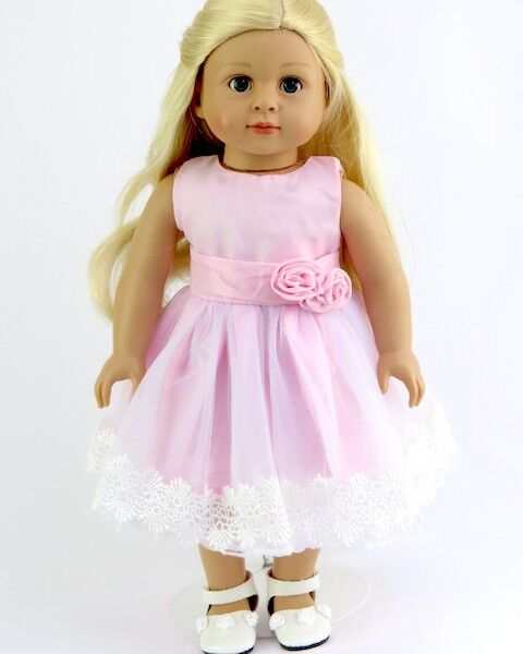 "Lovvbugg Perfect Pink Dress Lace Tulle for 18"" American Girl Doll Clothes Spring"