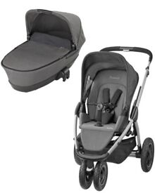 Maxi Cosi Mura Plus new carrycot changing bag Grey travel system 3in1 with car seat Pebble Plus