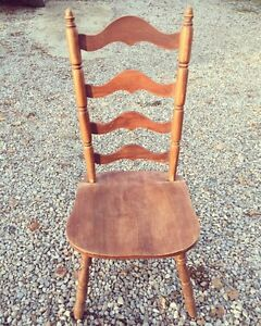 Antique Ladder Back Wood Chair