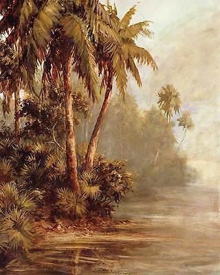 Malarz Hidden Bank Tropical Coastal Palm Trees Print Poster 18X22