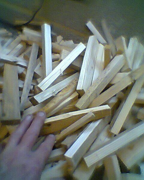 sacks of kindling firewood