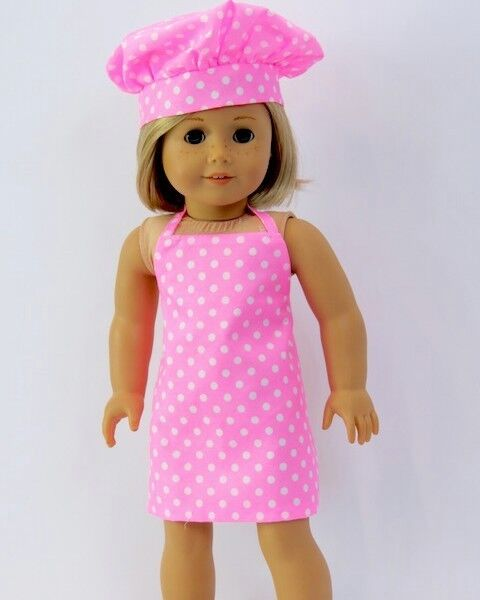 Pink Baking Chef Cook Apron Set for American Girl 18 inch or Bitty Baby 15 inch Doll Clothes