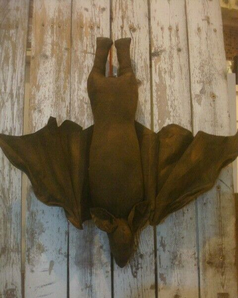 "Hand Made Large Hanging Bat Halloween Decor *Handmade* 19"" X 19"" Primitive Decor"