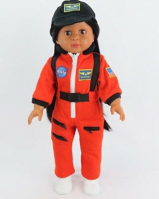 Orange Nasa Inspired Outfit Fits 18 American Girl Doll Boy Logan Or Luciana