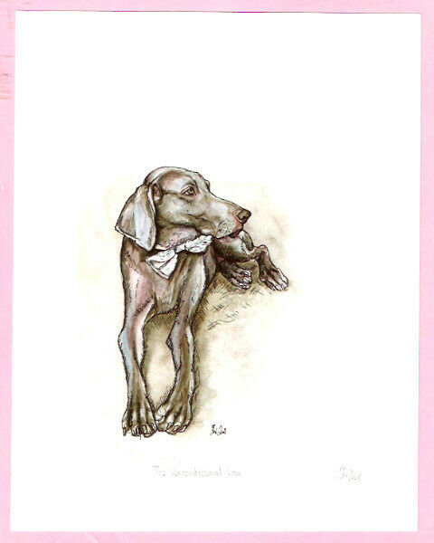 Weimaraner Weim Signed Art Print UK Artist Elle Wilson The Unconditional Love*