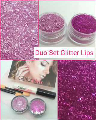Glitter Lips Lipstick Hot Pink& Pink Pops Loose Glitter Duo Set 3 Party Hen Xmas