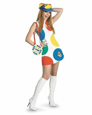 TWISTER DELUXE COSTUME RETRO ADULT COSTUME DRESS HAT & SPINNER PURSE SIZE SM 4-6