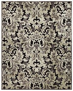 Silver and Black Designer Silk Damask Rugs 8x10 and 2x4
