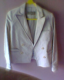 JIGSAW CREAM DOUBLE BREASTED JACKET SIZE 8