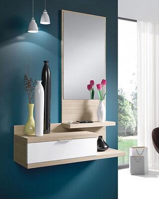 Mueble recibidor para colgar con espejo y un cajón, color blanco y nature segunda mano  Alquerías del Niño Perdido