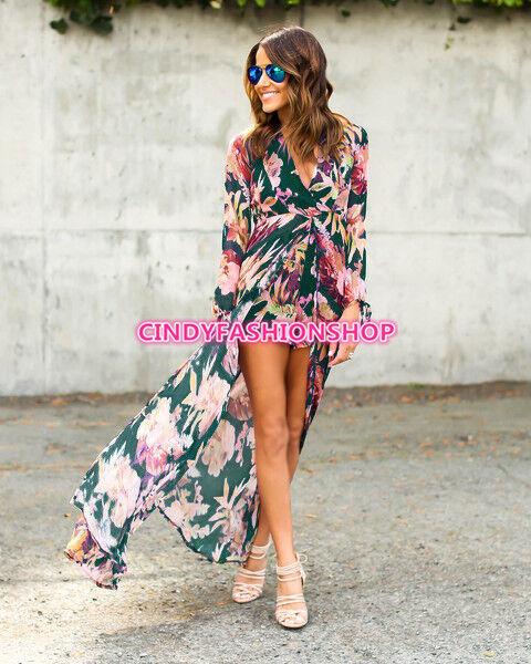 eeb629e45c3 ... USA Women Long Sleeve Maxi Summer Floral Short Romper Dress Bo ho Split  Chiffon фото ...