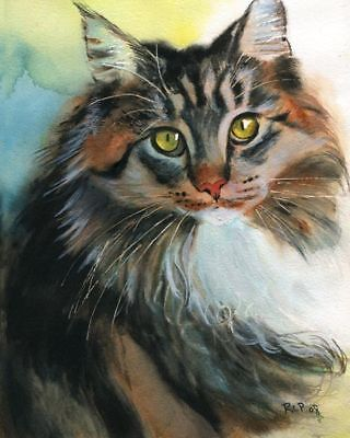 - Giclee PRINT Maine Coon Tabby Cat Art Painting Pet Portrait Watercolor