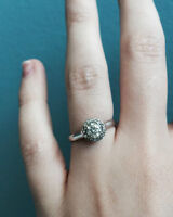 Diamond Framed Peoples Diamond Engagement Ring
