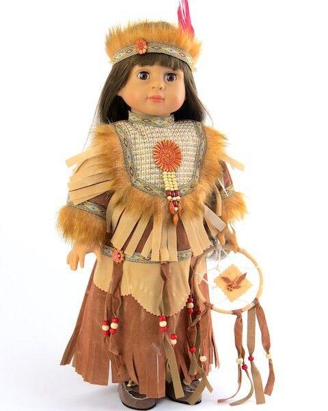 "Native American Costume w dreamcatcher & Headress for 18"" American Girl Doll"