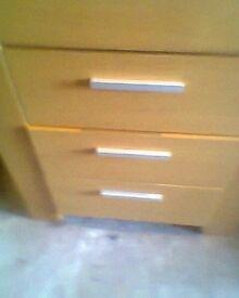 oak 3 drawer bedside cabinet