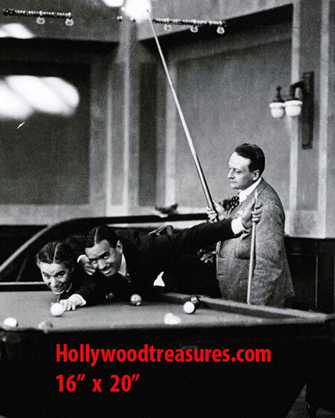 "Charlie Chaplin~Fairbanks ~Shooting Pool~Billiards~#1~Poster~16"" x 20"" Photo"