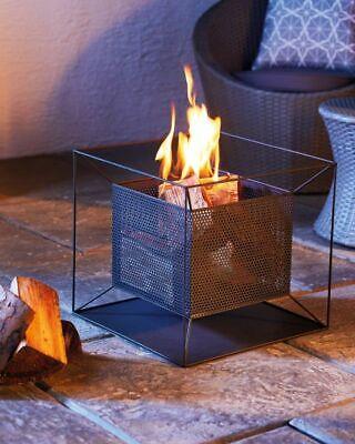 Garden Fire Pit Basket Patio Heater Log Wood Charcoal Burner Black Aldi