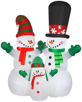 12' Airblown Snowman and Family Scene Christmas Inflatable