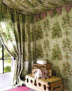 4 METRES OF OSBORNE AND LITTLE NINA CAMPBELL LOCHWOOD FABRIC COTTON TREES GREEN