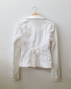 Guess White Blazer with lace and ribbon London Ontario image 2
