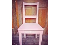 IKEA chair update painted in white and pink with beautiful folk art white stencil design