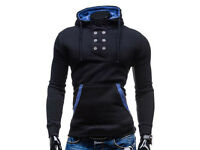 Trendy Black Hooded Buttons Embellished Men's Hoodie Sweatshirt size S - NEW