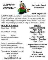 HOURLY RENTALS OF CANOES AND KAYAKS