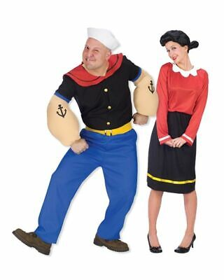 Fun Couples Costume ( Popeye & Olive Oyl Adult Husband Wife Fun Couples 2-Costumes+ FREE PIPE!!)