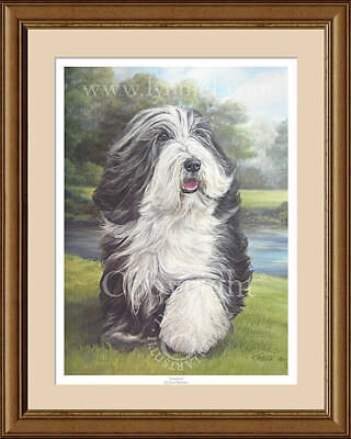 engraved rolling pin body Bearded Collie USA valek
