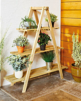 ALDI GARDENLINE WOODEN PLANT STAND A FRAME DESIGN STYLISH PLANT DISPLAY NEW