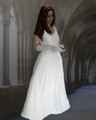 Mittelalter Gothic Kleid Talisha weiß Hochzeit Elbe Brautkleid - Mittelalter Kleid Weiss