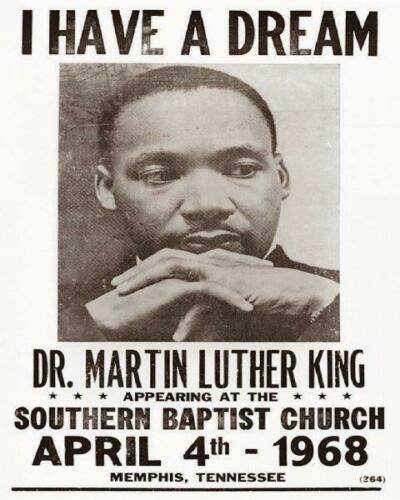 MARTIN LUTHER KING JR I Have a Dream Southern Baptist April 4th, 1968 8x10 Photo