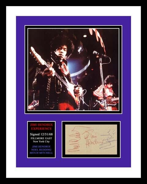 JIMI HENDRIX EXPERIENCE *SIGNED x 3* AUTO PHOTO PRINT DISPLAY *READY TO FRAME*