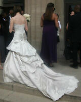 CHAMPAGNE CRYSTAL SATIN WEDDING GOWN $595