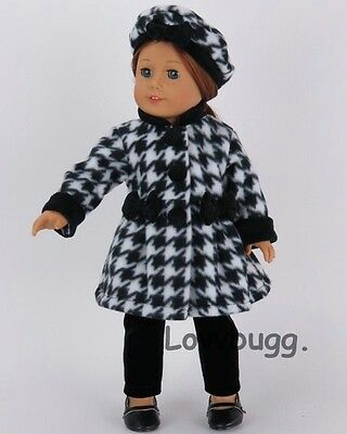 "Lovvbugg Uptown Girl Houndstooth Coat Set for 18"" American Girl Doll Clothes"