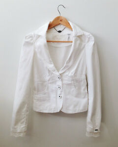Guess White Blazer with lace and ribbon London Ontario image 1