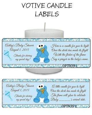 14 COOKIE MONSTER Custom Baby Shower Favor VOTIVE CANDLE LABELS Stickers   (Monster Baby Shower)