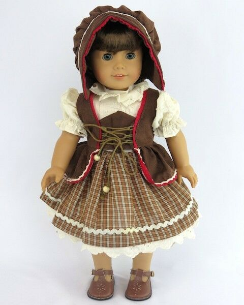 Traditional German Dress Costume Brown for American Girl 18 inch or Bitty Baby 15 inch Doll Clothes