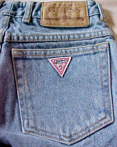 Vintage 80s GUESS Georges Marciano Triangle High Waist Jeans USA Sz 12 Waist 24""