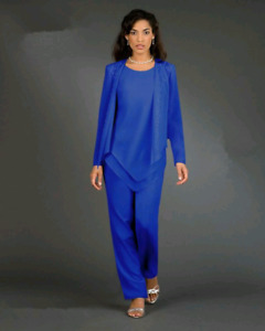 Royal Blue Chiffon Mother of The Bride or Groom Pant Suit